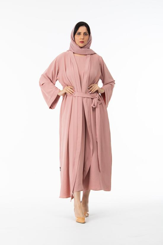 Abaya with plain dress, pink color fabric Si Wei