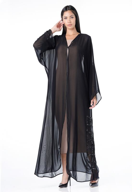 Open abaya with chiffon fabric made of transparent hand with side embroidery