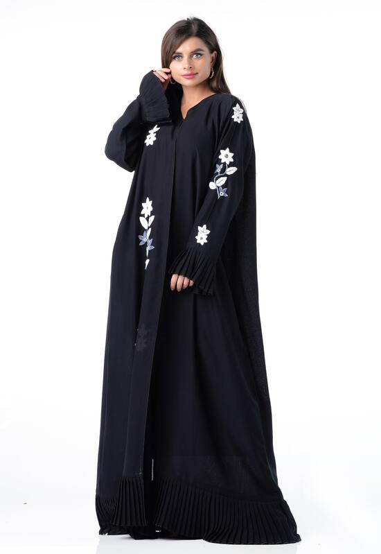 Plain black abaya with white floral embroidery