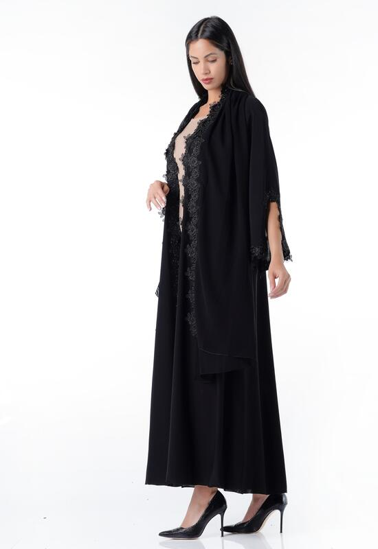 Abaya in royal black with Joubert embroidery