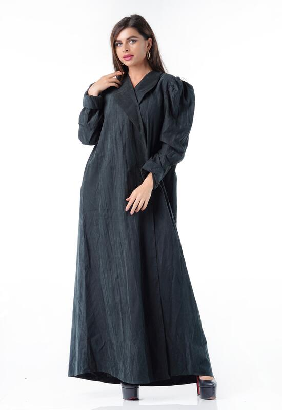 Practical abaya from CY raw material with a wrap lock and a classic collar