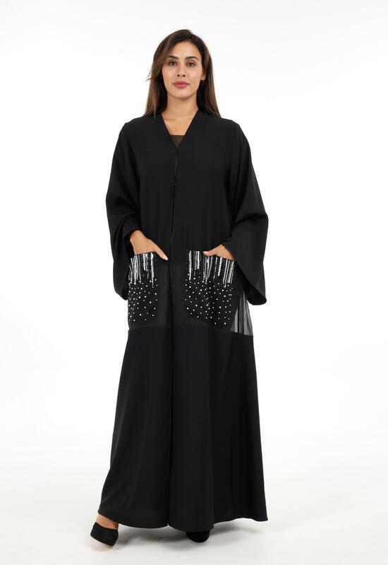 Open design abaya with embroidered pockets in a sophisticated light color