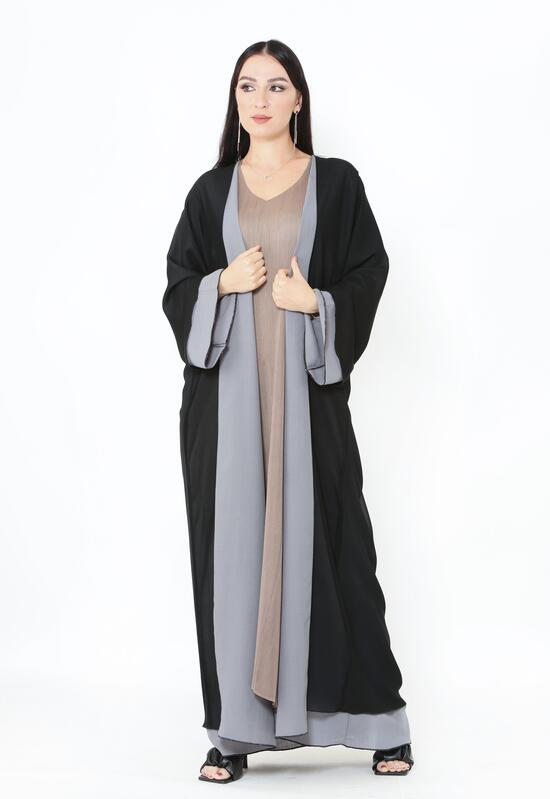 A chiffon double face abaya in gray and black