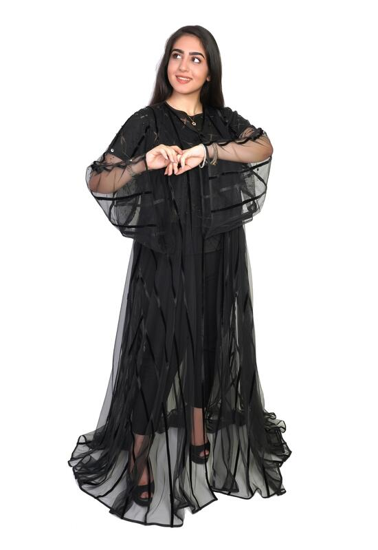 Abaya with transparent design in satin fabric in black color