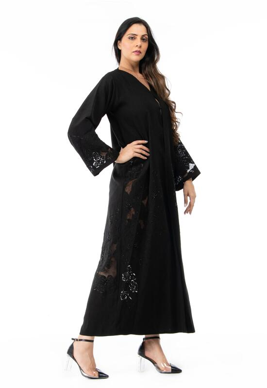 Abaya with transparent lace, black color