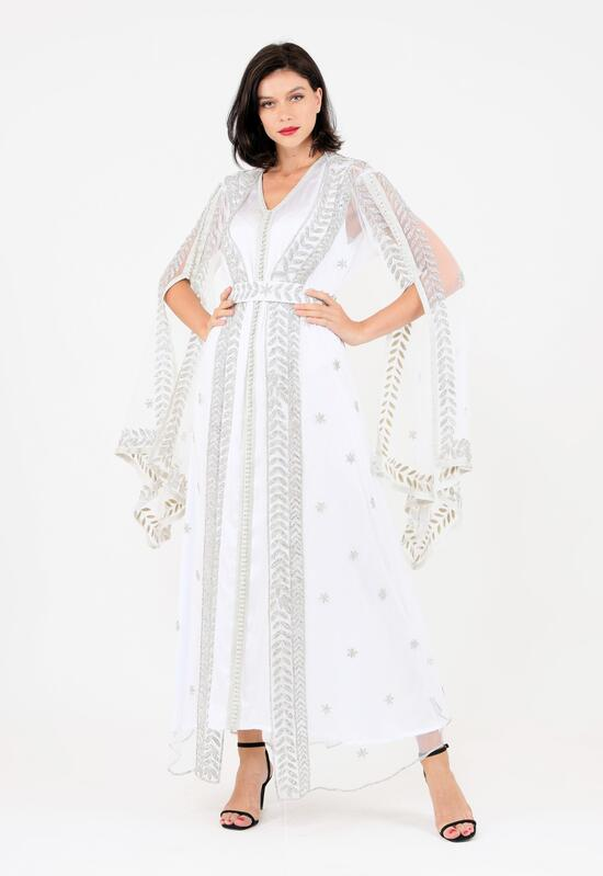 A sophisticated Moroccan caftan studded with crystals