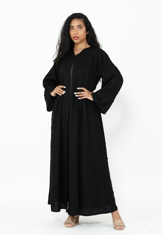Abaya made of soft Korean nada fabric with fine lobed embroidery