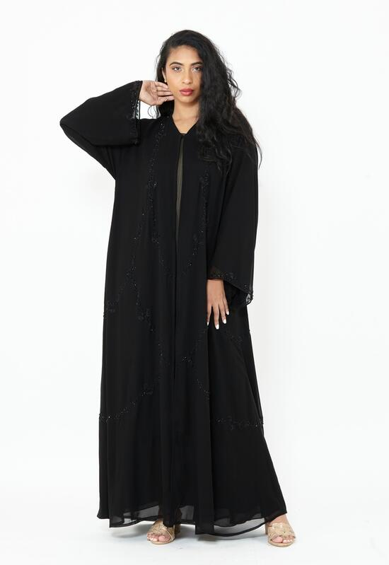 Abaya with two layers of comfortable black chiffon with floral embroidery and delicate lobes
