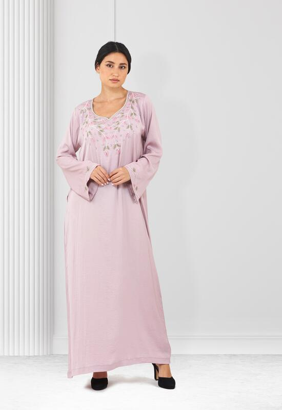 Light pink mhour with fine embroidery